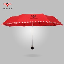 fashionable 21''8k 3 folding special design handle logo printing rain umbrella
