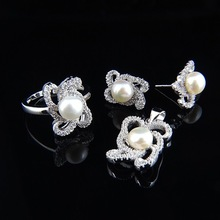 china Wholesale sterling s925ilver handmade stud earrings, ring, pendant pearl jewelry, pearl jewelry set