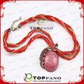 2015 promoção moda jóias mulheres couro trançado colar rosa