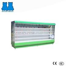 Buit-in widen upright supermarket open display refrigerator for fruit/ flowers