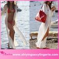 kaliteli toptan beyaz şifon yarık plaj maksi Sundress güzel sıcak kız seksi resmi 3d