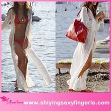 Alta calidad venta al por mayor blanco de la gasa de hendidura Beach Maxi vestido de tirantes hermoso caliente de la muchacha de imagen sexy 3d