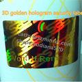 Moda 2015 3d caliente holograma de diseño personalizado de manipulaciones de seguridad etiquetas con el logotipo deimpresión, antecedentes de oro anti- fake sellos de sabotaje