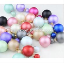 fashion brand jewelry double side pearl stud earrings for women