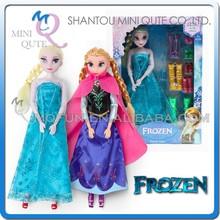 Mini Qute wholesale Kawaii movable joints Plastic cartoon Frozen doll princess anna & elsa olaf girls with shoes children toys
