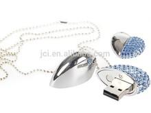 jewelry heart shape flash drive,diamond USB memory stick blue