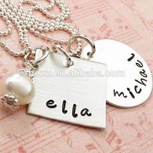 Pearl drop unique silver name Ella Michael metal couple necklace with thin chain
