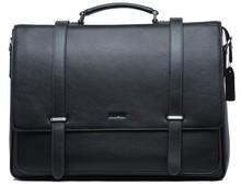 Best Sale Fashion Black Durable Waterproof Hard Whosale Genunie Leather PC Handbag with Flap