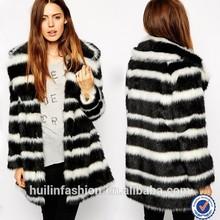 Wholesale clothing factory women fashion stripes natural mink fur coat