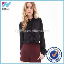 New Fashion Yihao Black Chiffon Long Sleeve Shirt Front Double Falbala Design Loose Tops blouse
