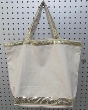2015 plain white cotton canvas tote bag with sequin strap