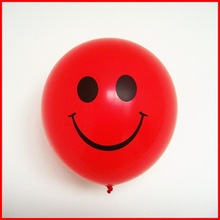 smiling face latex balloon/smile printed red balloon in 12 inch
