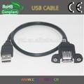principal produto preto usb cabo de extensão usb painel de montagem de cabos com parafusos de bloqueio