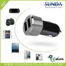 Aluminum case 2 usb port multiple mobile phone car charger