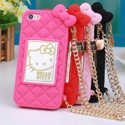 Hello Kitty Cute Silicone Chain Mobile Phone Cover For iPhone 5/6/6 Plus