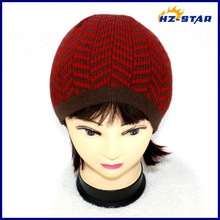 HZM-14073001 Design Your Own wave jacquard wool men winter hat lined knitting pattern striped hat