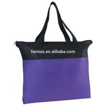 2015 Farmax black and purple zipper non woven shopping bags