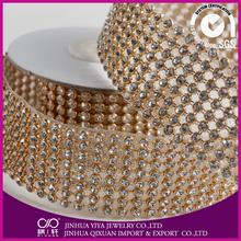 decorative glue on plastic rhinestoe mesh for bag crystal rhinestone line trims