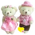 2015 vestido de color rosa de la promoción de la felpa oso de juguete ramo pareja oso de peluche de la boda