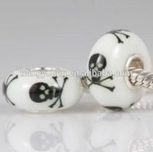 European style lampwork silver glass bead