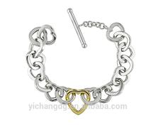 2015 nuovo braccialetto fashion design 14k due- Tono oro bracciale a maglie cuore