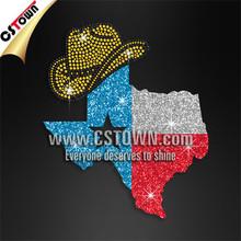 State of Texas cowboy custom glitter and rhinestone transfers