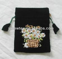 2015 new design ribbon velvet bag for gift