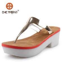 2015 women plastic sandal slipper Ladies Hot Sale Plastic Wedges Flip Flops Sandals Shoes Fashion Metal PVC Material Upper