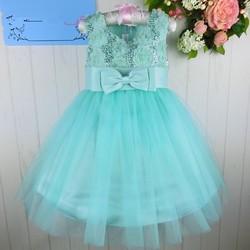 C84909A kids girl Sequined bow dress skirt princess dancewear party dress