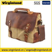 6807 Latest Vintage Khaki Canvas Crazy Horse Leather Flap Tote Mens Handbag with Laptop Compartment Inside