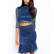 Navy Lace Soft Lining Skirt Set Lace Overlay Half Sleeve Evening Dresses For Ladies 2015