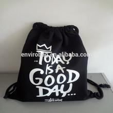 Lead-free Screen Printed Black Cotton Drawstring Bag