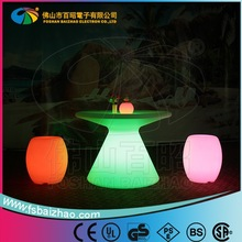 Round illuminated led bar table / LED lighting bar table furniture with remote control