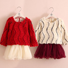 2014 Korean new women's winter clothing for children plus baby flowers spell yarn thick velvet dress child qz-2231