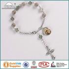 Wholesale handmade 9mm stone+9*8mm alloy cross beads rosary prayer bracelet