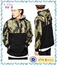 camo silk print hooded mixed half zip hoodie for men