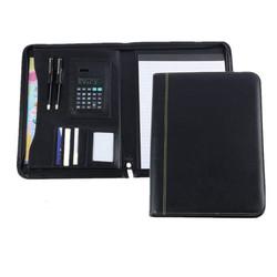 faux leather PU zipper file folder bag