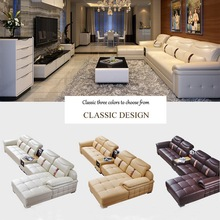 Modern Elegant White Genuine Leather And SynthetiDrawing Room And Living Room Sectional Sofa With Backrest Cushions