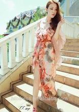 D680071new-spring ,summer women' falbala condole belt beach dress