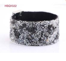 2015 HSQ New Arrival fashion acrylic resin macadam cuff bracelet