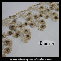 New product fashion mesh 3d flower lace embroidered fabric for dress