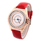 Best New Style Fashion Dress Watches Casual Style Rhinestone PU Watch with Big Dial White Wristwatches