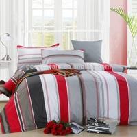 5 star hotel bed linen duvet cover set red stripe
