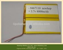 KPL8467110 li-ion 3.7v 8000mah tablet battery