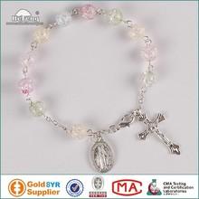 2015 fashion style 8mm crystal bead rosary bracelet