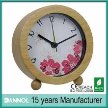 china home decor wholesale / fancy table clocks / wood desktop alarm clock red dial