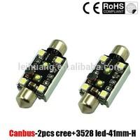 High quality new design 2 SMD c ree with 4 pcs 3528 led festoon lighting c5w lamp 41 42 mm error free canbus festoon