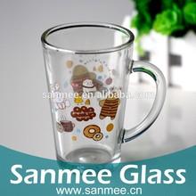 350ml Glass Drinkware Decal Printed Handle Coffee Glass Mug