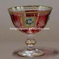 Pedestal decorativos hechos a mano soplado de oro pintado de vidrio- helado bowl