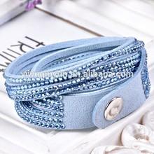 Handmade velvet slake bracelet with bling rhinestone decorative rivets leather bracelet